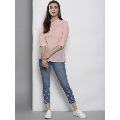 DOROTHY PERKINS Women Peach-Coloured Regular Fit Semi Sheer Solid Casual Shirt