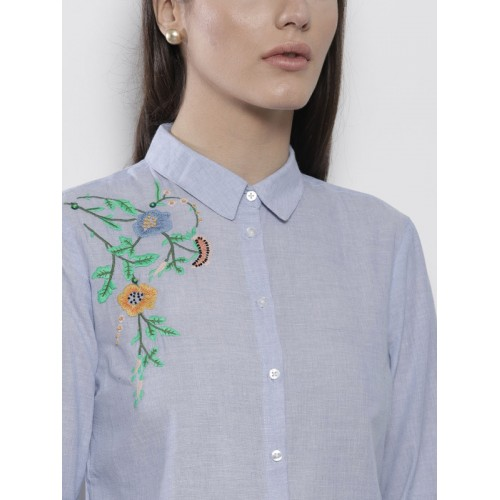 DOROTHY PERKINS Women Blue Solid Casual Shirt