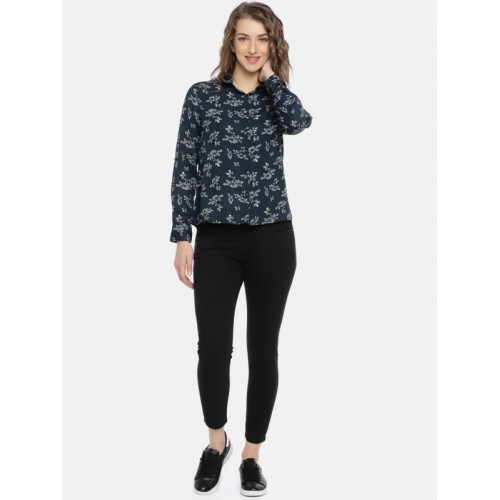 Mast & Harbour Women Navy Blue Regular Fit Printed Casual Shirt