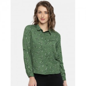 Mast & Harbour Women Green Regular Fit Printed Casual Shirt