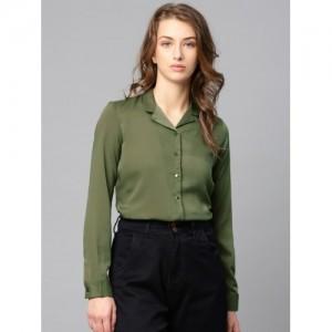 Tokyo Talkies Women Olive Green Regular Fit Solid Casual Shirt