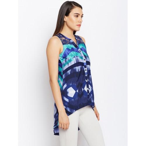 Oxolloxo Women Blue Regular Fit Printed Casual High-Low Shirt