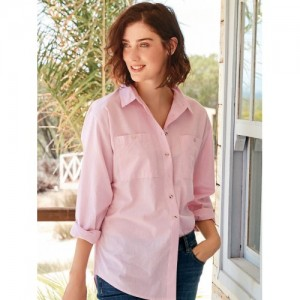 next Women Pink Solid Classic Regular Fit Casual Shirt