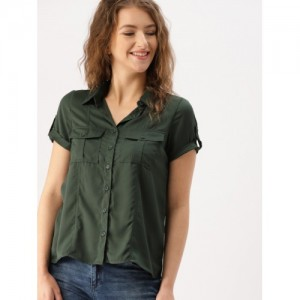 DressBerry Women Olive Green Solid Casual Shirt