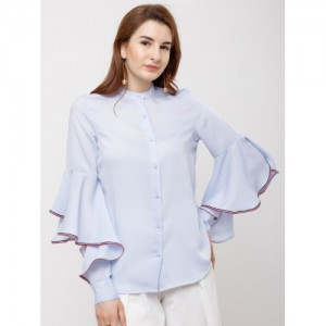 Tokyo Talkies Women Blue Regular Fit Solid Casual Shirt
