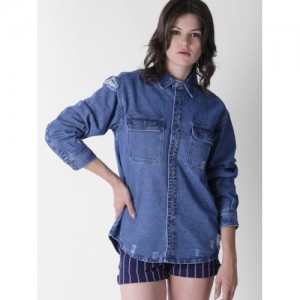 FOREVER 21 Women Blue Solid Distressed Denim Shirt