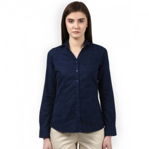 Park Avenue Woman Blue Regular Fit Printed Semiformal Shirt