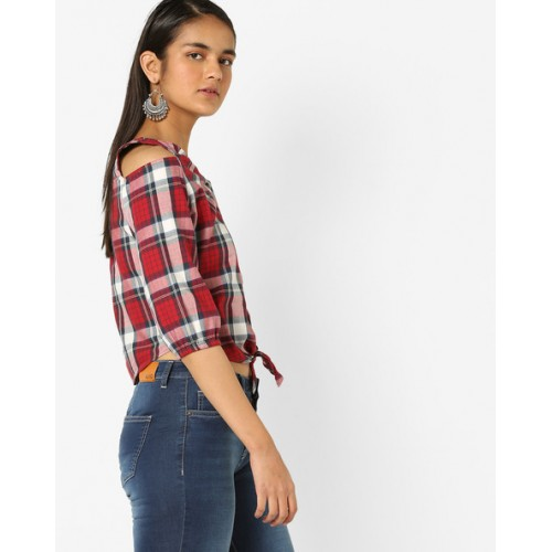KRAUS Checked Crop Shirt with Tie-Up