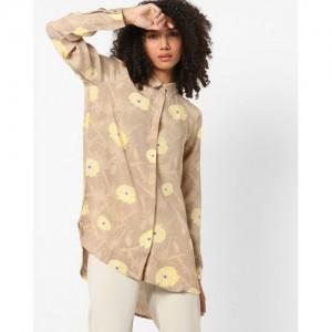 Vero Moda Floral Print High-Low Shirt