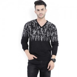 Peter England Printed V-neck Casual Black And Grey Pullover