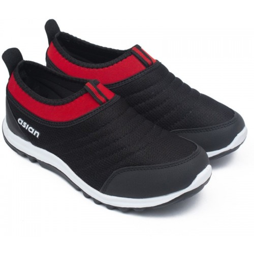 Asian Black Mesh Slip On Running Shoes