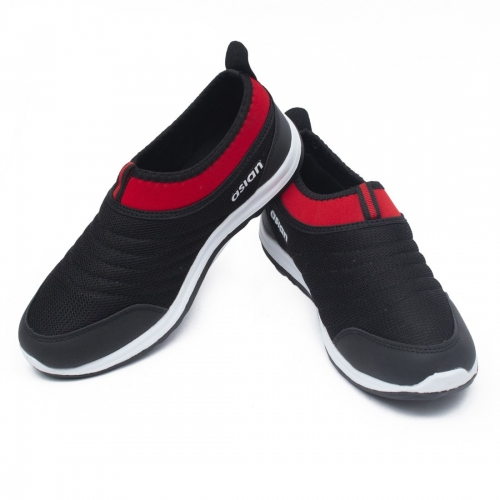 Asian Black Mesh Slip On Running Shoes
