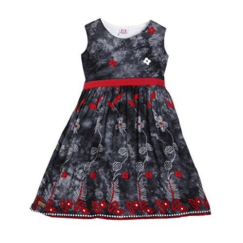 Lil Orchids Girls Grey Printed A-Line Dress
