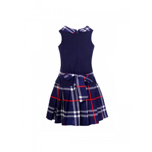 naughty ninos Girls Navy Checked Drop-Waist Dress