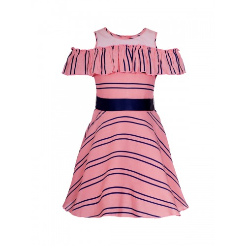 naughty ninos Girls Pink Striped Fit and Flare Dress