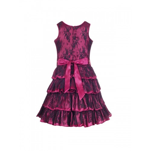 naughty ninos Girls Purple & Navy Blue Self Design Fit and Flare Dress