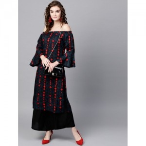 SASSAFRAS Navy Blue Off-Shoulder Straight Kurta