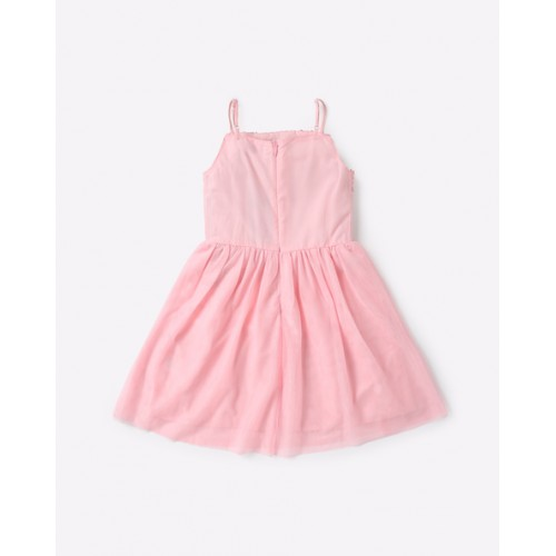 AJIO Strappy A-line Dress with Sequinned Bodice