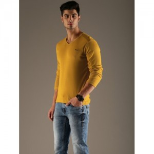 Flying Machine Men Mustard Yellow Solid T-shirt