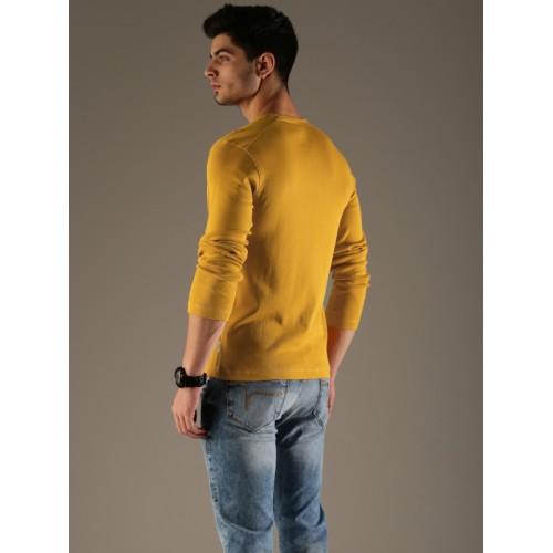 Flying Machine Men Mustard Yellow Solid T-shirt