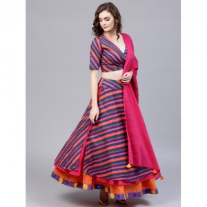 81bb9a92a2c69f AKS Navy Blue   Magenta Striped Ready to Wear Lehenga   Blouse with Dupatta
