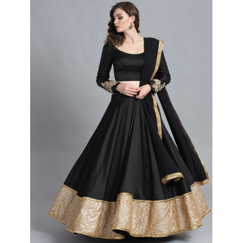 09a70190d ... Bollywood Vogue Black Sequinned Made to Measure Umbrella Lehenga    Blouse with Dupatta ...