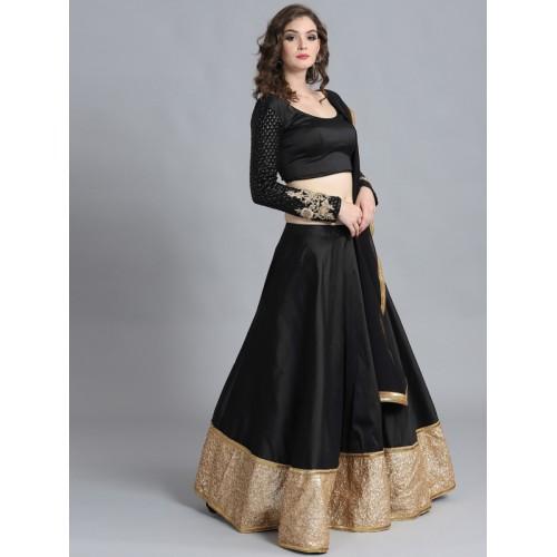 6e44aa403 Bollywood Vogue Black Sequinned Made to Measure Umbrella Lehenga   Blouse  with Dupatta ...