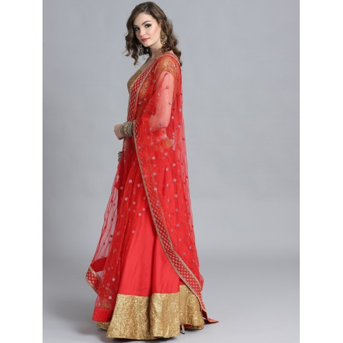 eb063c15c ... Bollywood Vogue Red   Golden Made to Measure Umbrella Lehenga   Blouse  with Dupatta ...