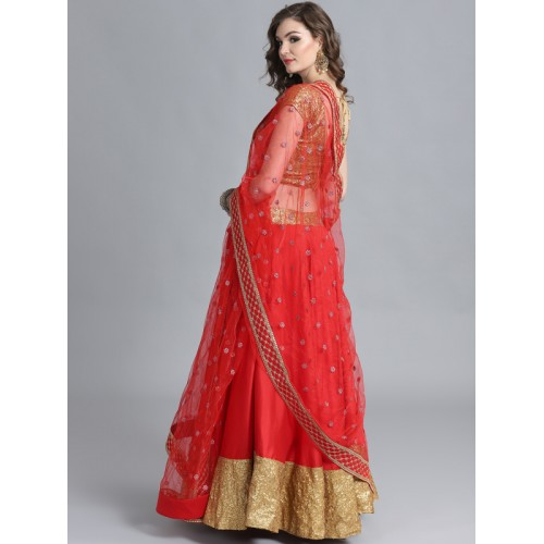 62efbbc7b Bollywood Vogue Red   Golden Made to Measure Umbrella Lehenga   Blouse with  Dupatta ...