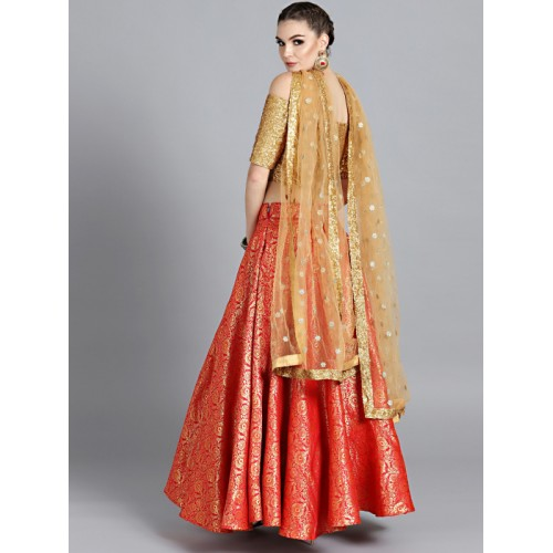 97a40a8bf Bollywood Vogue Red   Beige Made to Measure Brocade Umbrella Lehenga    Blouse with Dupatta ...