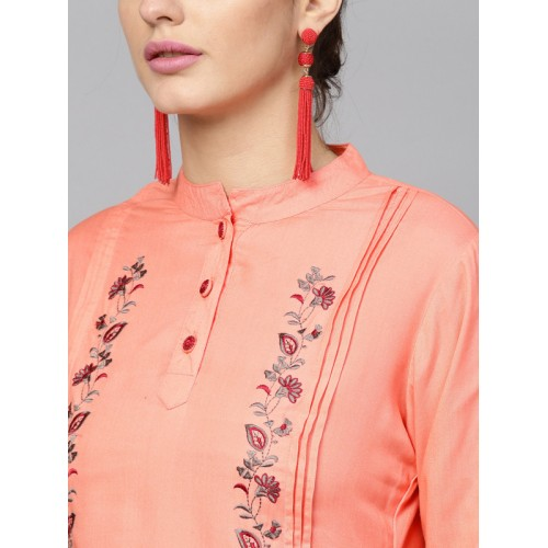Yufta Women Peach-Coloured & Beige Embroidered Kurta with Palazzos