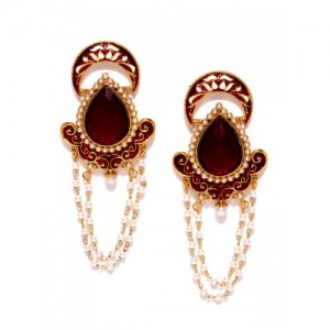Sukkhi Maroon Gold-Plated Beaded Stone-Studded Drop Earrings