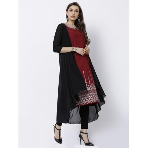 Vishudh Red & Black Cotton Solid A-Line Kurta