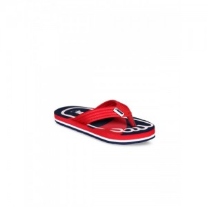 325b218ea Beanz Boys Red   Navy Blue Self Design Thong Flip-Flops