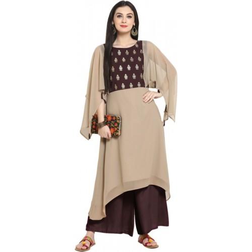 Ziyaa Women's Solid Flared Kurta(Brown)