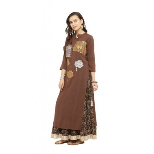 Varanga Women's Printed Straight Kurta(Brown)
