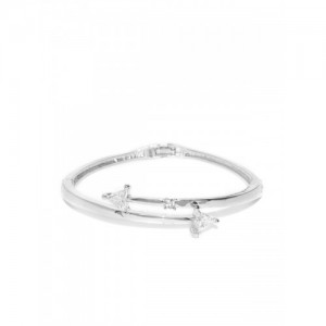 Jewels Galaxy Silver-Plated Stone-Studded Handcrafted Bangle-Style Bracelet