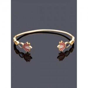 Studio Voylla Gold-Toned & Pink Brass Gold-Plated Enamelled Cuff Bracelet