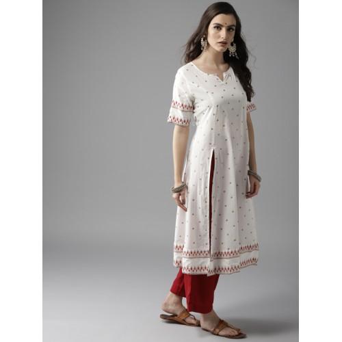 Moda Rapido Women Off-White & Golden Printed A-Line Kurta