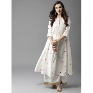 Moda Rapido Women Off-White Printed A-Line Kurta