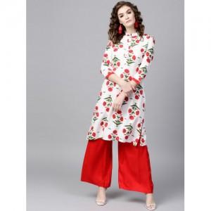 SASSAFRAS Women White & Red Printed Straight Kurta