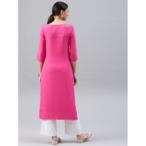 Vaamsi Women Pink & Orange Printed Straight Kurta