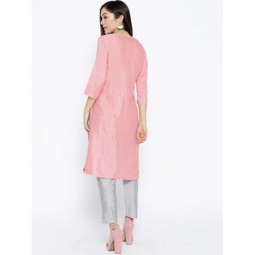 Rangriti Women Coral Pink Printed Straight Kurta