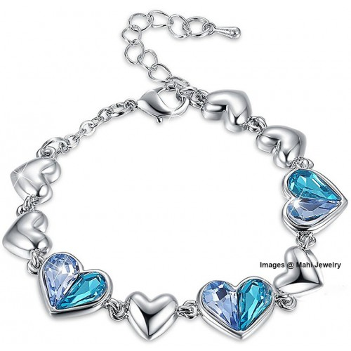 Oviya Valantine Gift Blue Heart Crystal Adjustable Bracelet For Women BR2100314RBlu