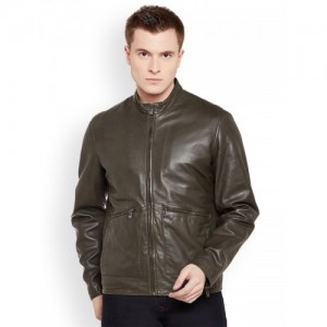 Justanned Men Olive Green Solid Leather Jacket