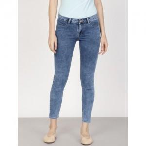 ether Women Blue Acid-Washed Super-Skinny Fit Cropped Jeggings
