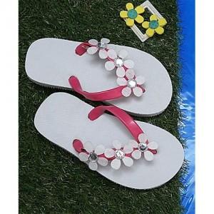 D'chica Flower Embellished Flip Flops - White