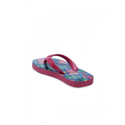 DChica Girls Blue & Pink Printed Thong Flip-Flops