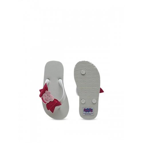 Dchica Peppa Pig Girls White & Pink Embellished Thong Flip-Flops
