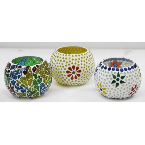 Craft Junction Handmade Mosaic Tealight Set of 3 Glass 3 - Cup Tealight Holder Set(Multicolor, Pack of 3)